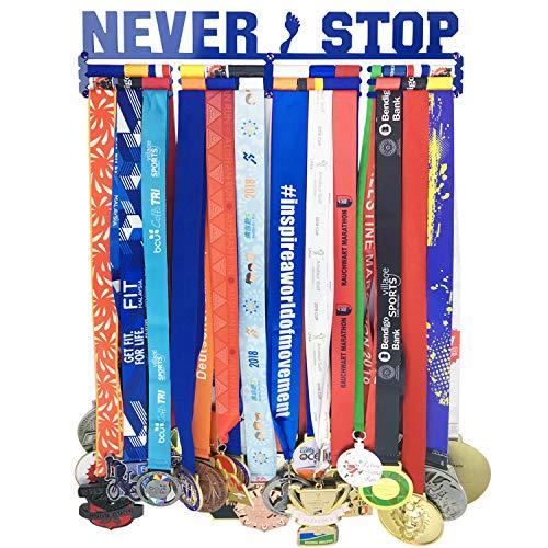 Race Medal Hanger Holder Display Rack Awards for 36 Medals use for All Sports,Never Stop Race Medal Display Holder,Luxury Blue Color,Bonus 1PC Wristband Pocket Included - Plaque Award Hockey