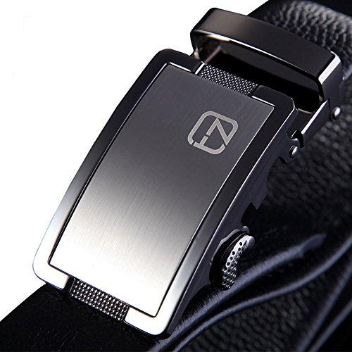 Teemzone Elder Jeansgürtel Vollrindleder Automatik Kurzbar Hosengürtel Gürtel für Herren mit Automatikschließe (110cm)