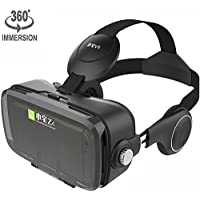 VR Viewer Helmet Virtual Reality Headset with Build-in Stereo Headphones and Adjustable Strap Movie Games 3D Glasses fits the Myopia for iOS & Android Smartphones within 3.5-6.2 inches (Z4 Black)
