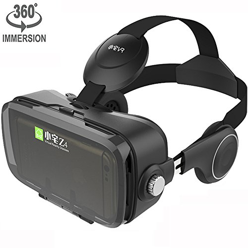 Price comparison product image VR Viewer Helmet Virtual Reality Headset with Build-in Stereo Headphones and Adjustable Strap Movie Games 3D Glasses fits the Myopia for iOS & Android Smartphones within 3.5-6.2 inches (Z4 Black)