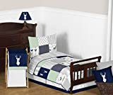 Sweet Jojo Designs 5-Piece Navy Blue, Mint and Grey Woodsy Deer Boys Toddler Bedding Comforter Sheet Set