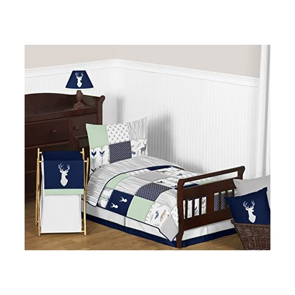 Sweet Jojo Designs Lamp Shade for Navy Blue, Mint and Grey Woodsy Deer Boys Bedding Collection