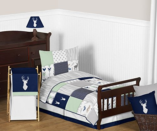 (Navy Blue, Mint and Grey Woodsy Deer Boys Toddler Bedding 5 Piece Comforter Sheet)