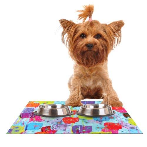 KESS InHouse Ebi Emporium Speckle Me Dotty  Feeding Mat for Pet Bowl, 18 by 13-Inch