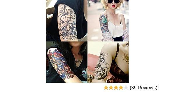 Amazon.com: Dalin 4 Sheets Temporary Tattoo, Buddha, Dragon: Beauty