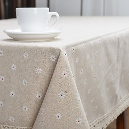 Fashionmall Cotton & Linen Tablecloth Little Daisy Lace Reusable Various Size Table Cover (55-Inch by 70-Inch)