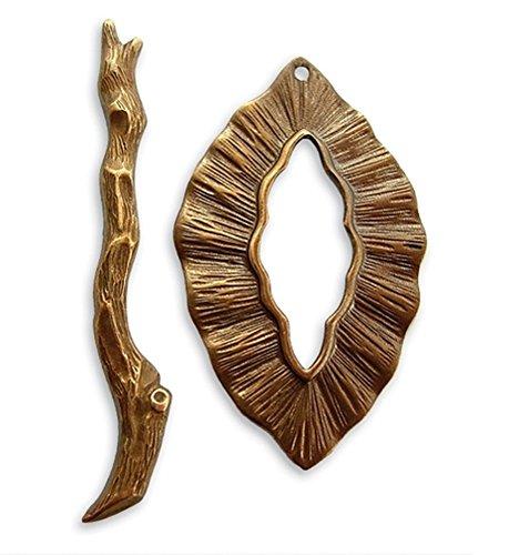 - Vintaj Natural Brass Woodland Leaf Branch Toggle Clasp (1 Set)