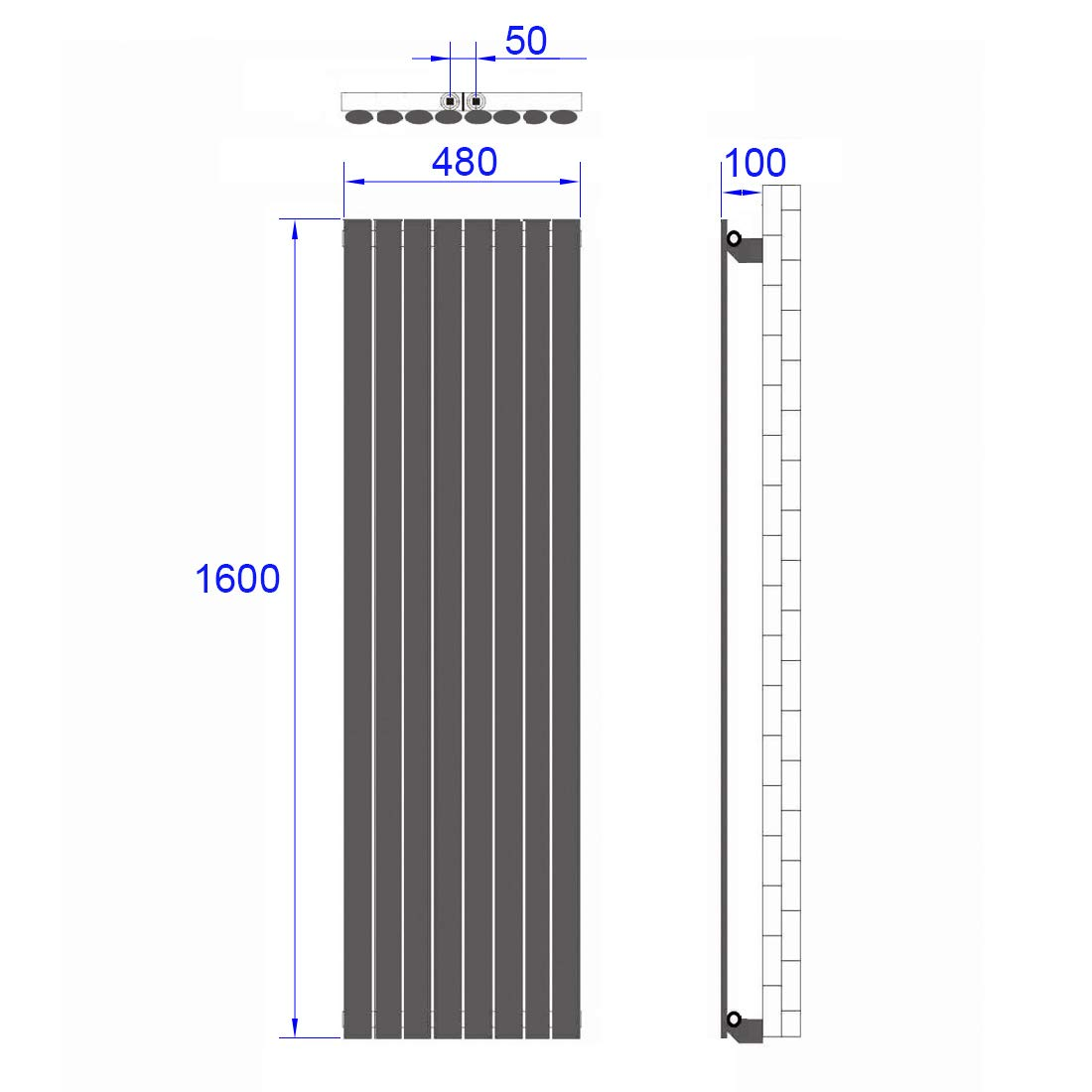 Design Oval Heizk/örper Vertikal Heizk/örper Antrazit 1800 x 600 mm Heizung Mittelanschluss Doppellagig
