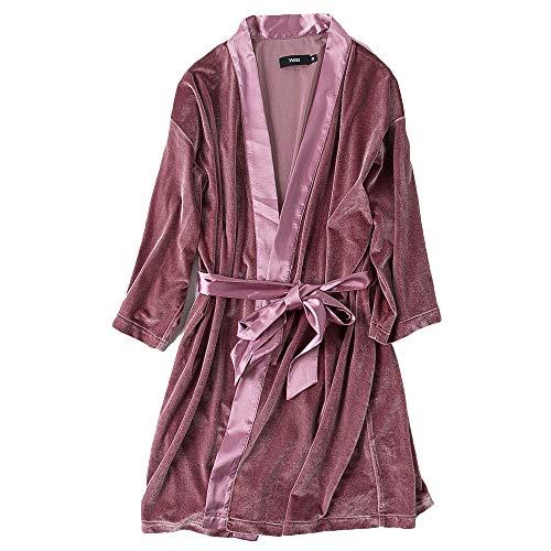 Hotel Casa Velluto Dormire Per Super Notte Casuale WKNBEU Indumenti Vestaglia Signore Da Rosa Donne Terme Pink Accappatoio Accappatoio Soft Autunno xqEPw4vw01