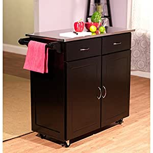 Target Marketing Systems Large Rolling Kitchen Cart with 2 Drawers, 1 Cabinet & Towel Rack, Stainless Steel Top, Black