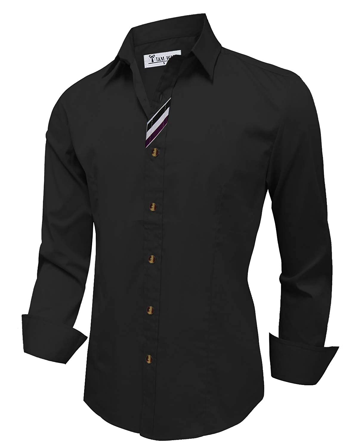 TAM WARE Mens Casual Slim Fit Contrast Inner Long Sleeve Button Down Shirt