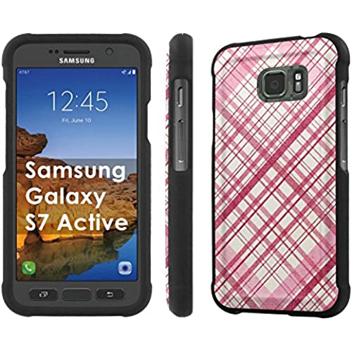 AT&T [Galaxy S7 Active] [5.1 Screen] Armor Case [NakedShield] [Black] Total Armor Protection [Shell Snap] + [Screen Protector] Phone Case - [Pink Plaid Pattern] for Sales
