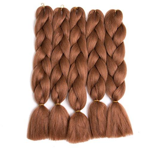 Lady Corner Braiding Hair 24inch Jumbo Braids High Temperature Fiber Synthetic Hair Extension 5pcs/Lot 100g/pc for Twist Braiding Hair (Auburn Brown)