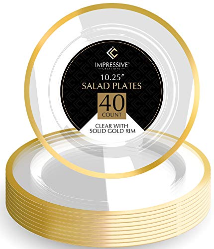 Premium Heavy-weight Round Plastic Plates - Dinner Plates Gold Rim - Superior Plastic - Pack of 40 - 10.25 Inches Plates - Perfect for a Party