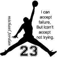 Hemore 56 * 56cm Michael Jordan Puedo Aceptar la Etiqueta de la Pared de Fracaso 1 Paquete El Regalo Ideal para los Padres,niños,Amantes,Mujeres