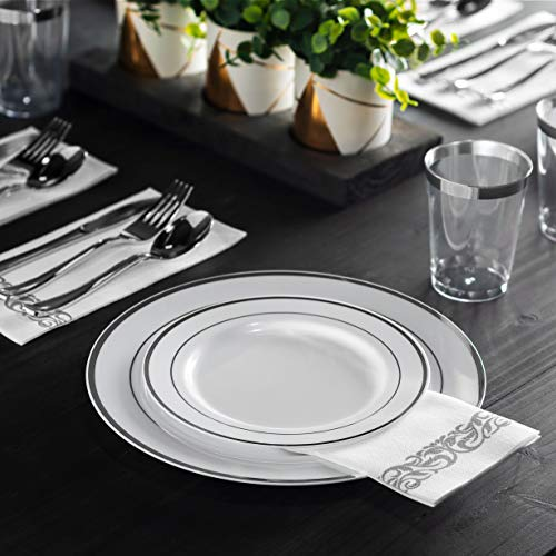 350 Piece Silver Dinnerware Set ~ 100 Silver Plastic Plates ~ 50 Silver Plastic Silverware ~ 50 Silver Plastic Cups ~ 50 Linen Like Silver Paper Napkins, 50 Guest Disposable Silver Dinnerware Set  by Munfix (Image #5)
