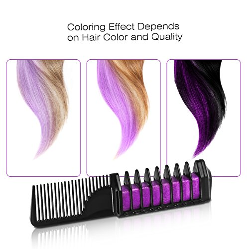 Hair Chalk, Temporary Hair Chalk Comb Non-toxic Washable Hair Dye with Shawl for Kids Party and Cosplay, Hair Chalk Pens Works on All Hair Colors by NICEAUTY by ETEREAUTY (Image #4)