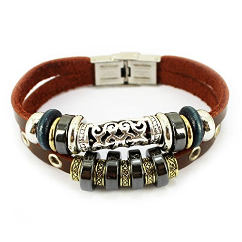 Vicheer Stylish Adjustable Bead Bangle Wristbands Steel Clasp Leather Wrap Bracelets 001