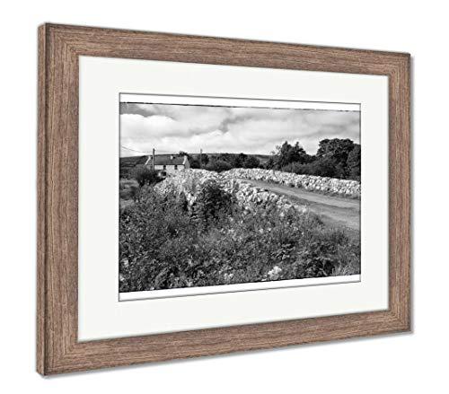 Ashley Framed Prints The Quiet Man Bridge, Wall Art Home Decoration, Black/White, 26x30 (Frame Size), Rustic Barn Wood Frame, AG6441067