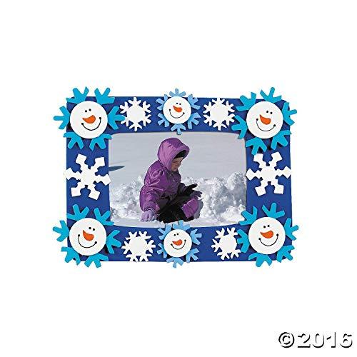Fun Express Snowman and Snowflakes Photo Frame Magnet Craft Kits (Makes 12) -