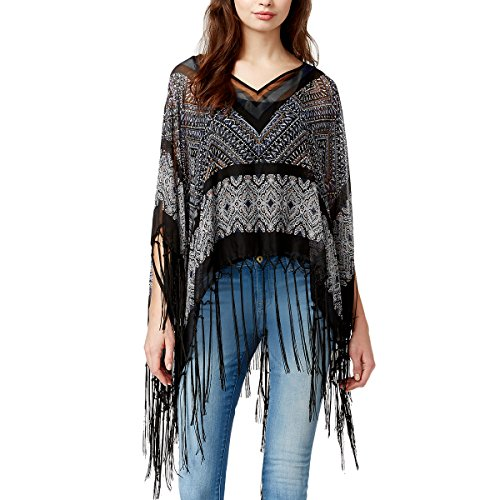Boho-Chic Vacation & Fall Looks - Standard & Plus Size Styless - Steve Madden Tribal Split-Neck Poncho, Neutral, One Size