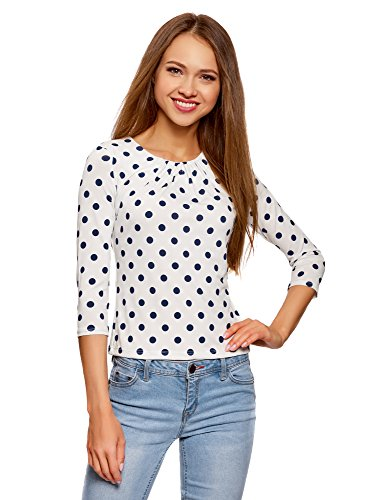 Shirt Manches 3 Imprim 1279d Blanc Collection Femme oodji 4 T wqXtXS