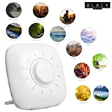 THE BLACK SERIES Restful Sleep Sound Machine, Features 12 Nature-Inspired Recordings/Ambient Music, May Help Relieve Anxiety in Children/Adults, Built-In Speaker, Audio-Out Headphone Jack, Includes Po
