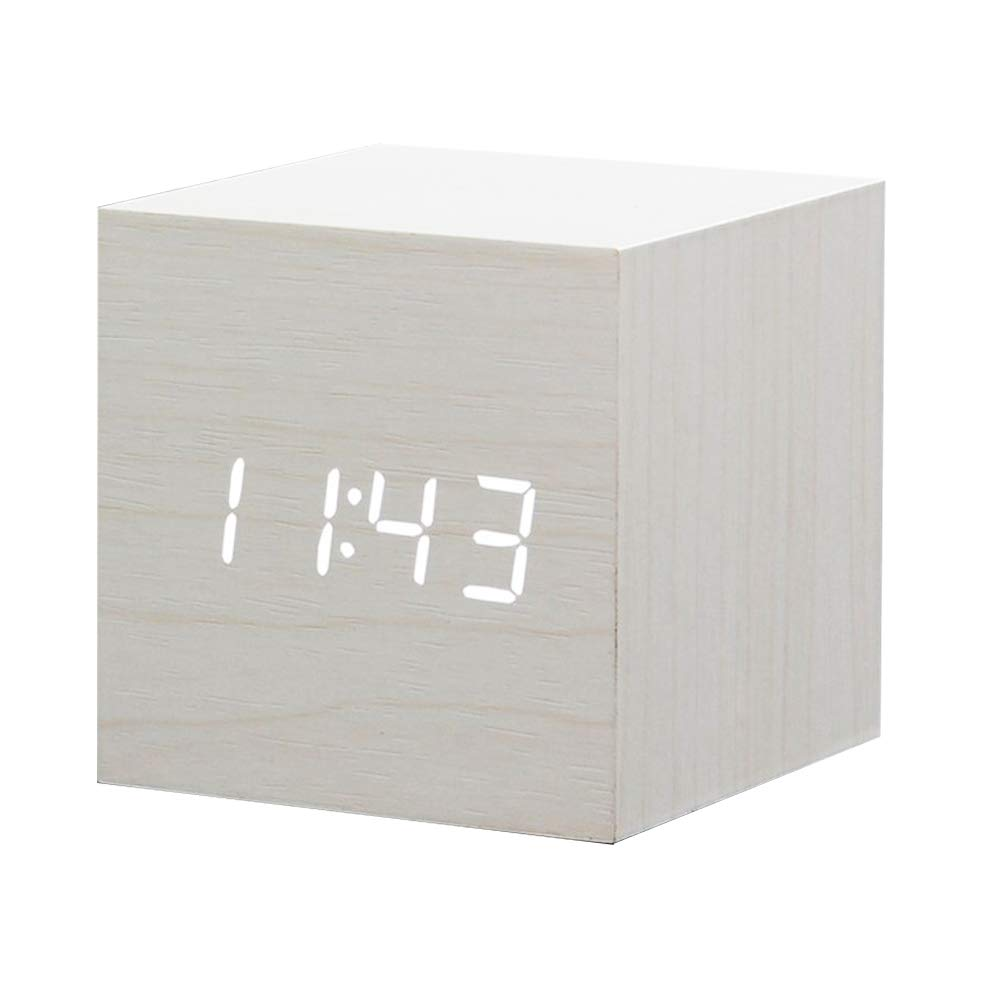 Zeekoo Wooden LED Digital Alarm Clock, Displays Time Date and Temperature, Cube USB/3AAA Battery Powered Sound Control Desk Alarm Clock for Kid, Home, Office, Daily Life, Heavy Sleepers (White)