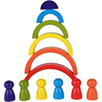 12pcs Rainbow Wooden Blocks and Peg Dolls Kit Rainbow Building Blocks Wood Stacking Toy Stacker Educational Toys for…