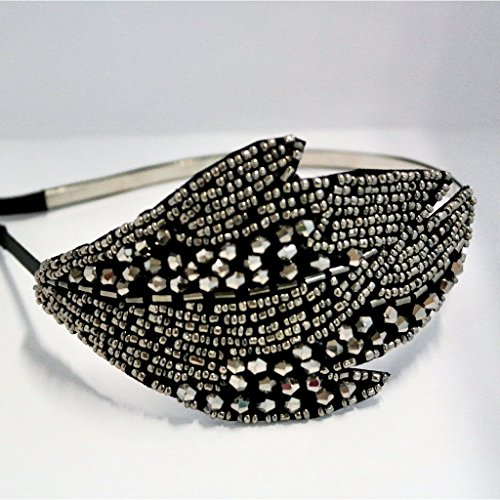 Chicky Chicky Bling Bling Beaded Blad 1920 Stil Headands Womens Solid Tinn