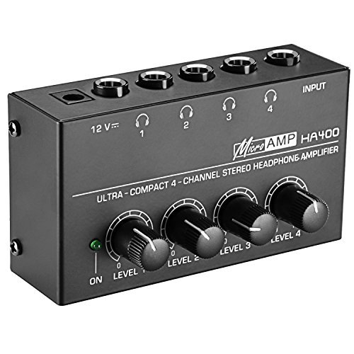 4 Channel Headphones Amplifier System - Neewer Super Compact 4-Channel Stereo Headphone Amplifier with DC 12V Power Adapter for Sound Reinforcement, Studio, Stage, Choir, Personal Recording, Features Ultra Low Noise (Original Version)
