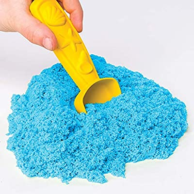 Kinetic Sand, Sandbox Playset with 1lb of Blue and 3 Molds, for Ages 3 and Up: Toys & Games