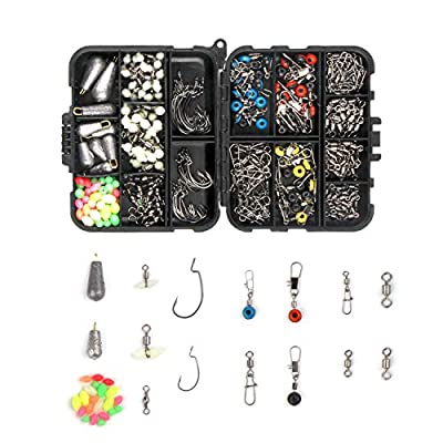 Fiscan 276pcs Fishing Accessories Kits,Fishing Terminal Tackle,Including Fishing Hooks,Wide Belly Hooks, Different Fishing Swivel, Connector, Fishing Line Beads, Fishing Set with Tackle Box