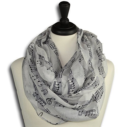 Music Note Infinity Loop Scarf for Women