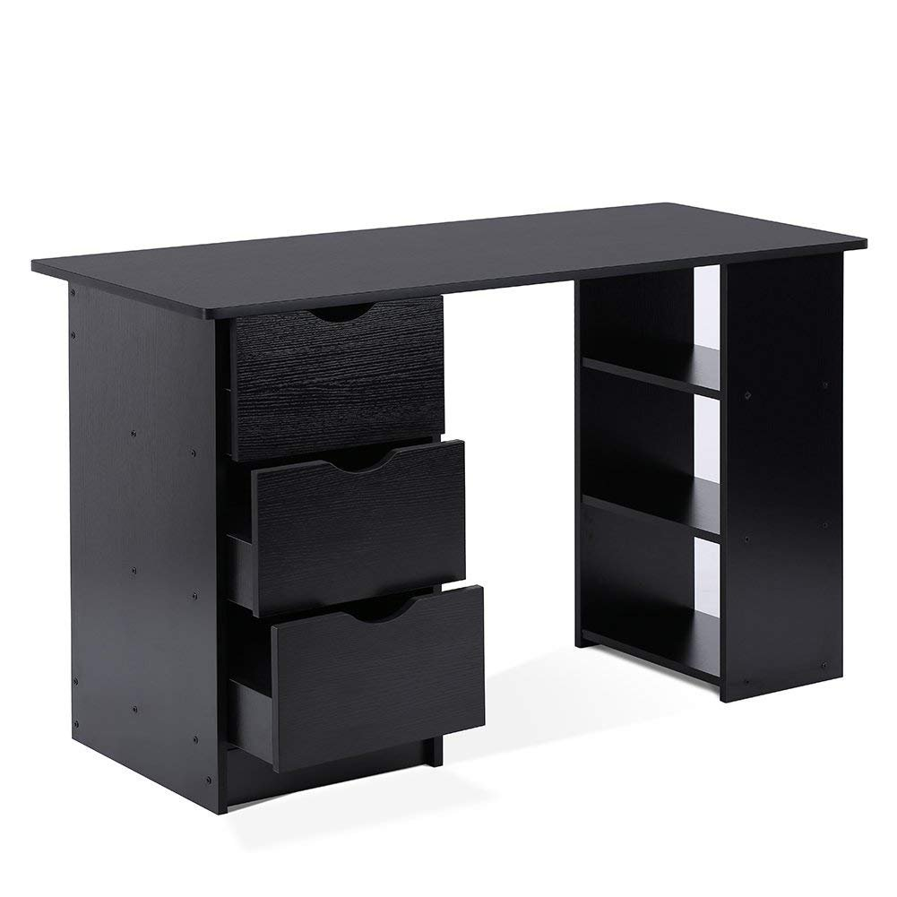 Computer Desk with 3 Drawers and 3 Shelves, Home Office PC Table Workstation, Black ADD ONE +1