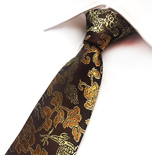 MENDENG Men's Classic Gold Brown Silk Dragon Paisley Jacquard Woven Tie Necktie