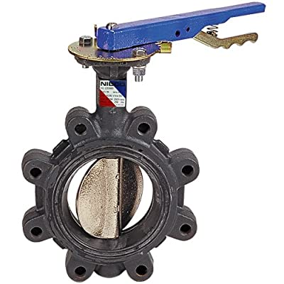 "NIBCO LD-3122-3 Series Ductile Iron Butterfly Valve with Buna-N Liner and Stainless Steel Disc, Lever-Lock Handle, Lug, 5"" by NIBCO"