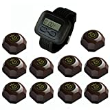 SINGCALL Wireless Restaurant Service Calling System,for Cinema,pack of 10 Pcs Table Buttons and 1 Pc Wrist Watch Reciever