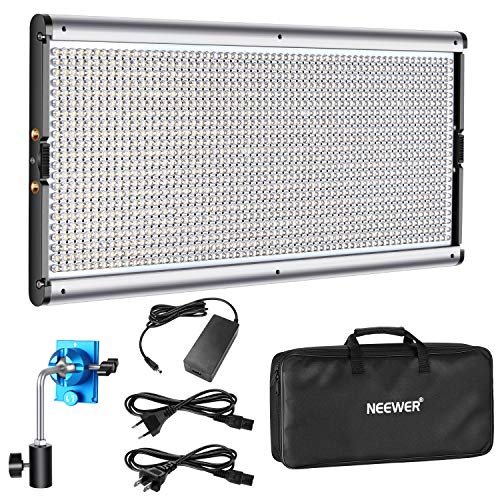 Neewer Dimmable LED Video Light Photography LED Lighting with Metal Frame 1320 LED Beads 3200-5600K, DC Adapter/Battery Power Options for Studio Portrait Product Video Shooting (Battery Not Included)