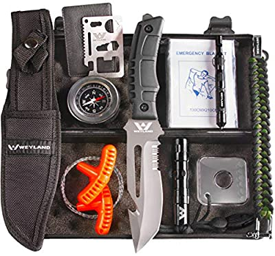 Weyland Outdoors Survival Kit - Emergency Survival Gear for Hiking, Backpacking, EDC, and Camping with a Tactical Survival Knife, Compass, Flashlight, Outdoor Preparedness Tools and Other Gadgets by Weyland