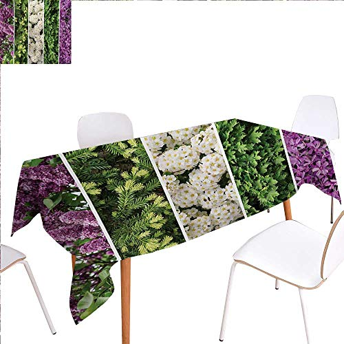 familytaste Flower Washable Tablecloth Collage Mix Diverse Herbs and Blossoming Bouquet Flowers Romantic Wedding Concept Waterproof Tablecloths 60