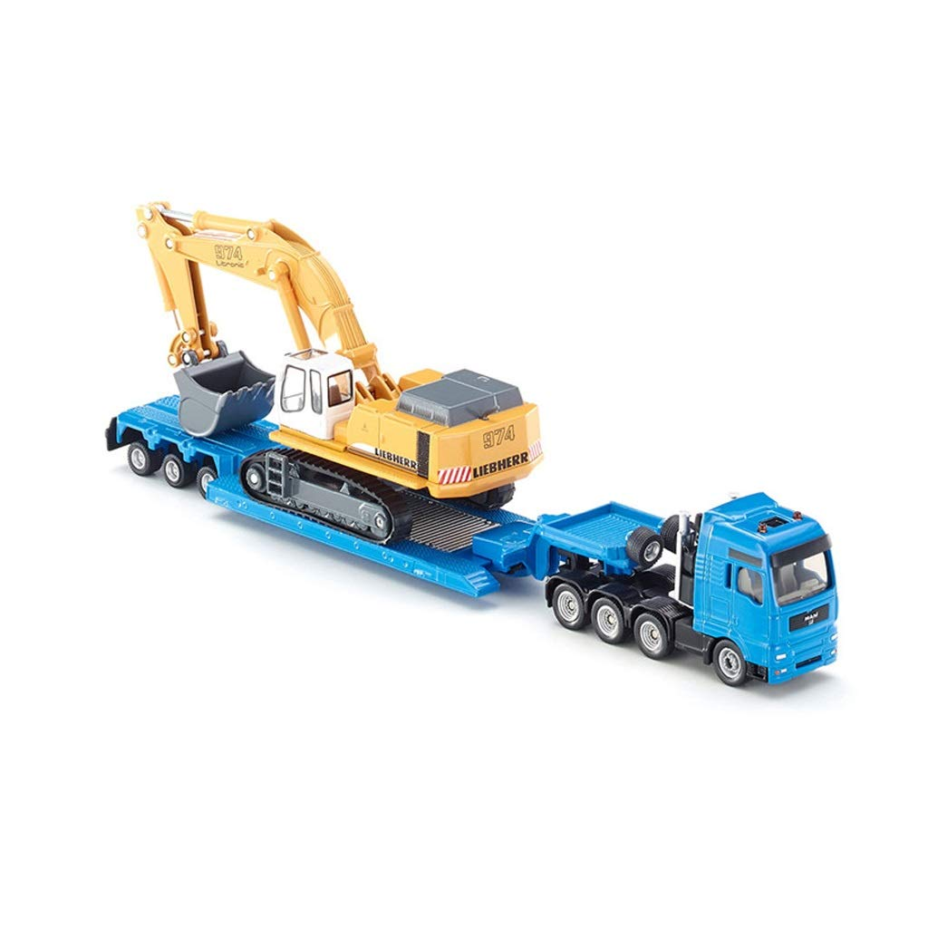 LIUFS-Alloy Car Toy Car Model Simulation Bus Passenger Alloy - Flatbed Trailer with Excavator SKUC1847 ( Color : Blue )