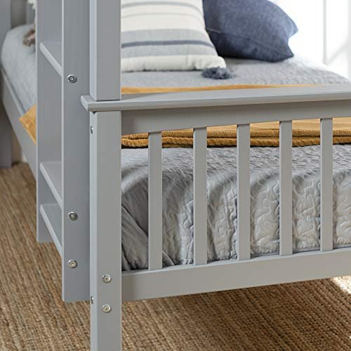 Walker Edison Furniture Company Wood Twin Bunk Kids Bed Bedroom with Guard Rail and Ladder Easy Assembly, Grey