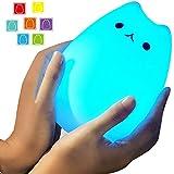 Umiwe 充電式テーブルランプ シリコン猫 LED デスクライト ベッドサイドランプ USBポート 3つモード 点灯 多色変更 雰囲気作り 照明ランプ 常夜灯 寝室 ギフト インテリア つまづき対策 改良版 (人気猫)