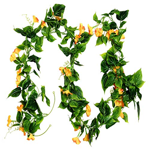 (AyFashion Artificial Morning Glory Vines, 2pcs 15Feet Hanging Plants Silk Garland Fake Green Plant Home Garden Wall Fence Indoor Outdoor Wedding Birthday Decor (Yellow))