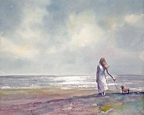 a beach - Art Print of Watercolor Painting - Beach, Girl, Dog ()