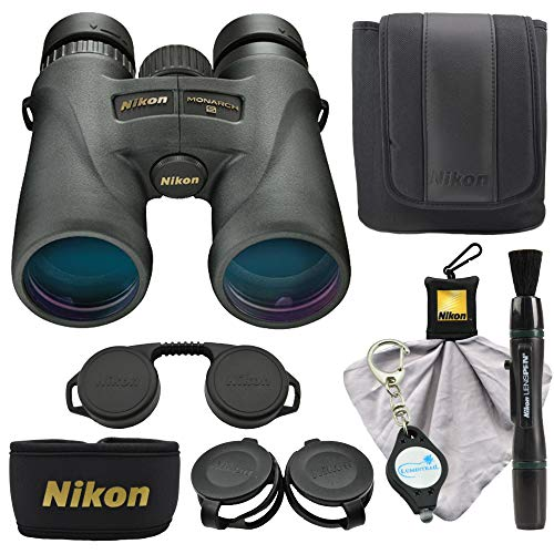 - Nikon Monarch 5 12x42 Binoculars (7578) Compact Binocular, Black Bundle with a Nikon Cleaning Cloth, Lens Pen, and Lumintrail Keychain Light