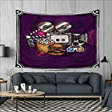 Anhuthree Modern Customed Widened Tapestry Cartoon Like Cinema Movie Image Burgers Popcorns Glasses Watching Film Wall Hanging Tapestry 90''x60'' Purple Earth Yellow
