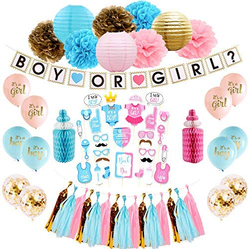 EJInspired Baby Gender Reveal Party Supplies , Boy Or Girl Party Decorations Kit With Photo Booth Props Set, Includes High Confetti Quality Balloon,Tassel, Pom Pom Flowers, Paper Lantern and Much More (69 Pieces) ()
