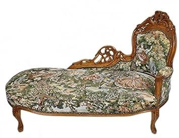 Casa Padrino Barock Chaiselongue Gobelin Musterbraun Antik Stil